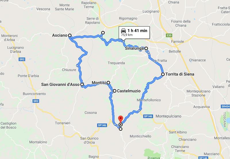 mappa tour Crete senesi
