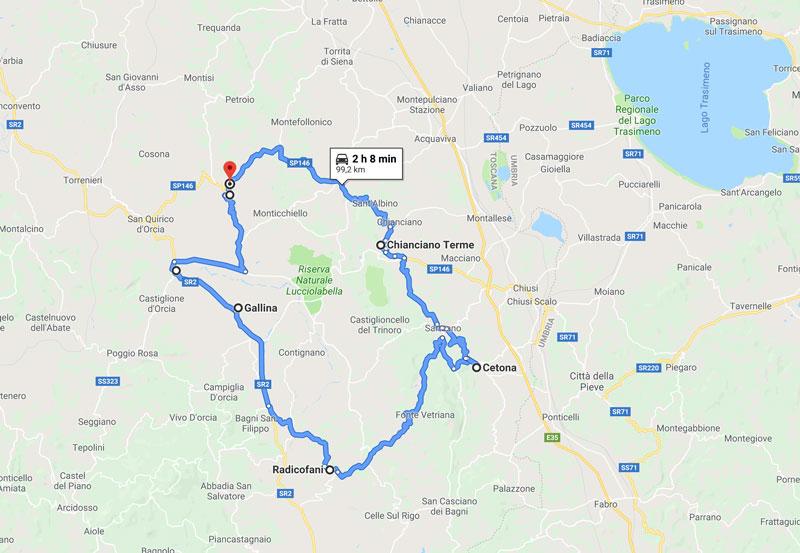 mappa tour Radicofani e Sarteano