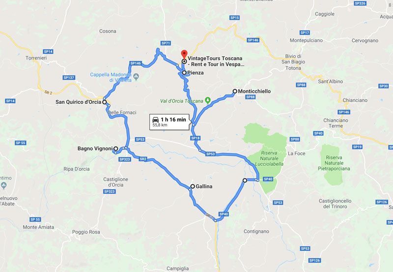 mappa tour Val D'Orcia